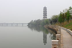 Kuiwen Pagoda and Xinjiang River