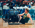 Sharon Slann getting back into her wheelchair at the 1996 Summer Paralympics in Atlanta, Georgia.jpg