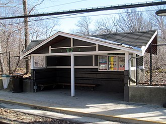 Longwood (MBTA station) - This wooden shelter replaced the stone station building in 1959