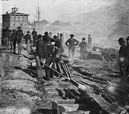 Sherman's troops destroy a railroad near Atlanta Sherman railroad destroy noborder crop.jpg