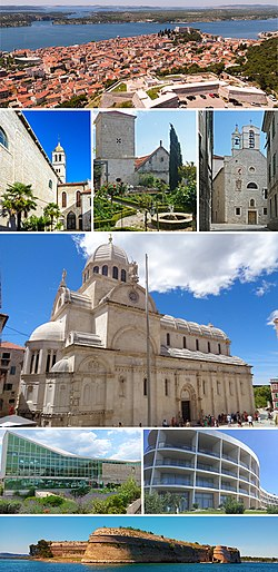 Top: Šibenik panorama; 2nd row: St. Francis Monastery, Medieval Mediterranean Garden of St. Lawrence's Monastery, Church of St. Barbara; Middle: St. James Cathedral; 3rd row: Juraj Šižgorić Public Library, Hotel in Mandalina; Bottom: St. Nicholas Fortress