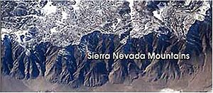 Mountain formation - Sierra Nevada Mountains (formed by delamination) as seen from the International Space Station.