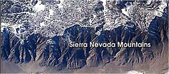 Orogeny - Sierra Nevada Mountains (a result of delamination) as seen from the International Space Station.