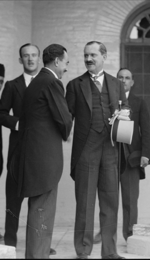 Francis Humphrys - Celebration of Iraq becoming member of the League of Nations, 6 October 1932. Baghdad. Sir Francis Humphrys, British Ambassador, taking leave of the King's Chamberlain at the Palace