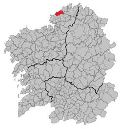 Localización de Valdoviño en Galicia.