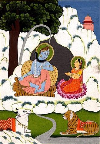 Sribhargavaraghaviyam - Śiva and Pārvatī on mount Kailāsa, where Paraśurāma studies in the canto Gurūpasattiḥ.