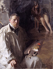 Painting shows a man in the foreground with a loose-fitting white outfit  and a 4094251c0096