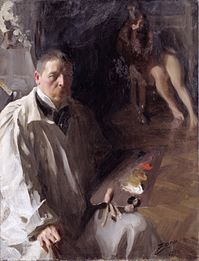 Self portrait by Andres Zorn with white, red, yellow and black palette