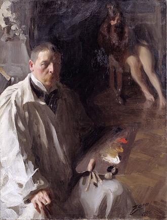Oil painting - Self-portrait, at work, Anders Zorn, 1897
