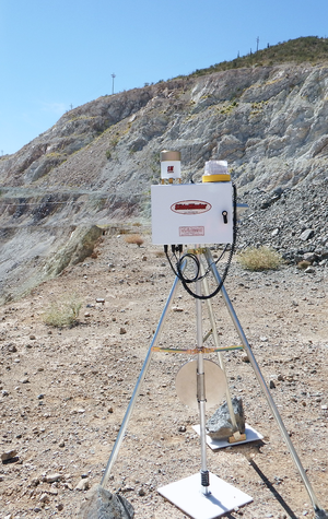 Extensometer - A wireline extensometer monitoring slope displacement and transmitting data remotely via radio or Wi-Fi
