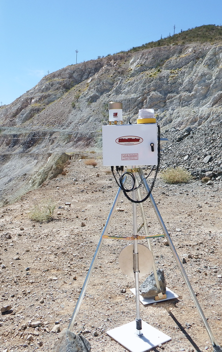 A Wireline extensometer monitoring slope displacement and transmitting data remotely via radio or Wi-Fi. In situ or strategically deployed extensometers may be used to provide early warning of a potential landslide. SlideMinder Extensometer.png