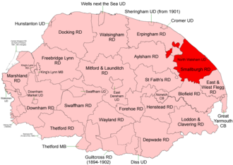 Smallburgh Rural District - Position within Norfolk, 1894