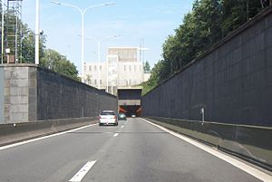 European route E34 - E 34 tunnel under the canal that connects Ghent with the Western Scheldt.