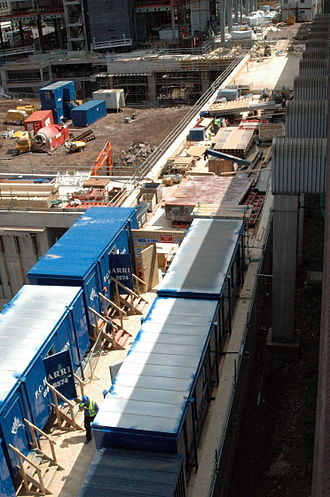 Snowhill - The tram viaduct in June 2008 with P.C. Harrington portacabins on top for Phase 3.