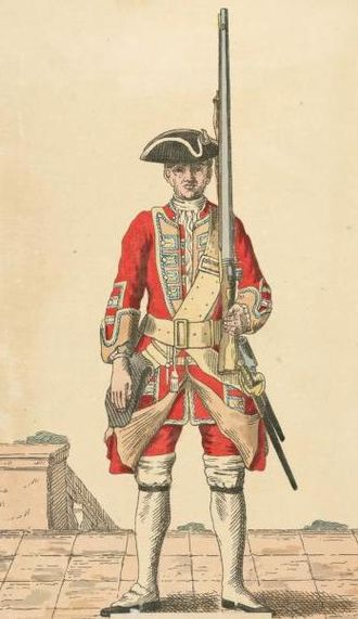 49th (Princess Charlotte of Wales's) (Hertfordshire) Regiment of Foot - Soldier of 49th regiment, 1743