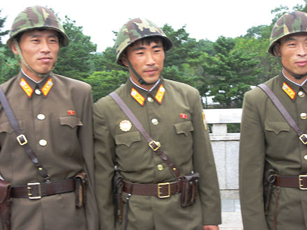 Korean People's Army (KPA) soldiers at Panmunjom Soldiers at Panmunjon (5063812314).jpg