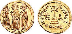 Sólido de Heraclio con sus hijos Constantino III y Heraclonas.