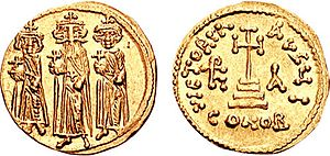 Heraclius - Solidus showing Heraclius (middle, with the large beard) in his later reign flanked by his sons Heraclius Constantine and Heraclonas