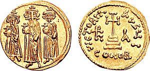 Ο Ηράκλειος και οι γιοί του Ηράκλειος Κωνσταντίνος και Ηρακλεωνάς.