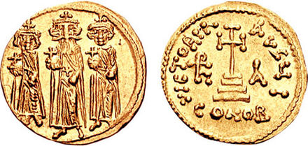 Solidus showing Heraclius (middle, with the large beard) in his later reign flanked by his sons Heraclius Constantine and Heraclonas Solidus-Heraclius-sb0764.jpg