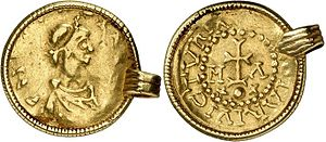 Liudhard medalet - A contemporary Frankish gold solidus of Clotaire II, who was a king for his whole life, 584 – 629, mounted as a pendant.