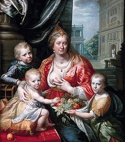 Sophia Hedwig van Brunswijk-Wolfenbuttel as Caritas with her sons, by Paulus Moreelse.jpg