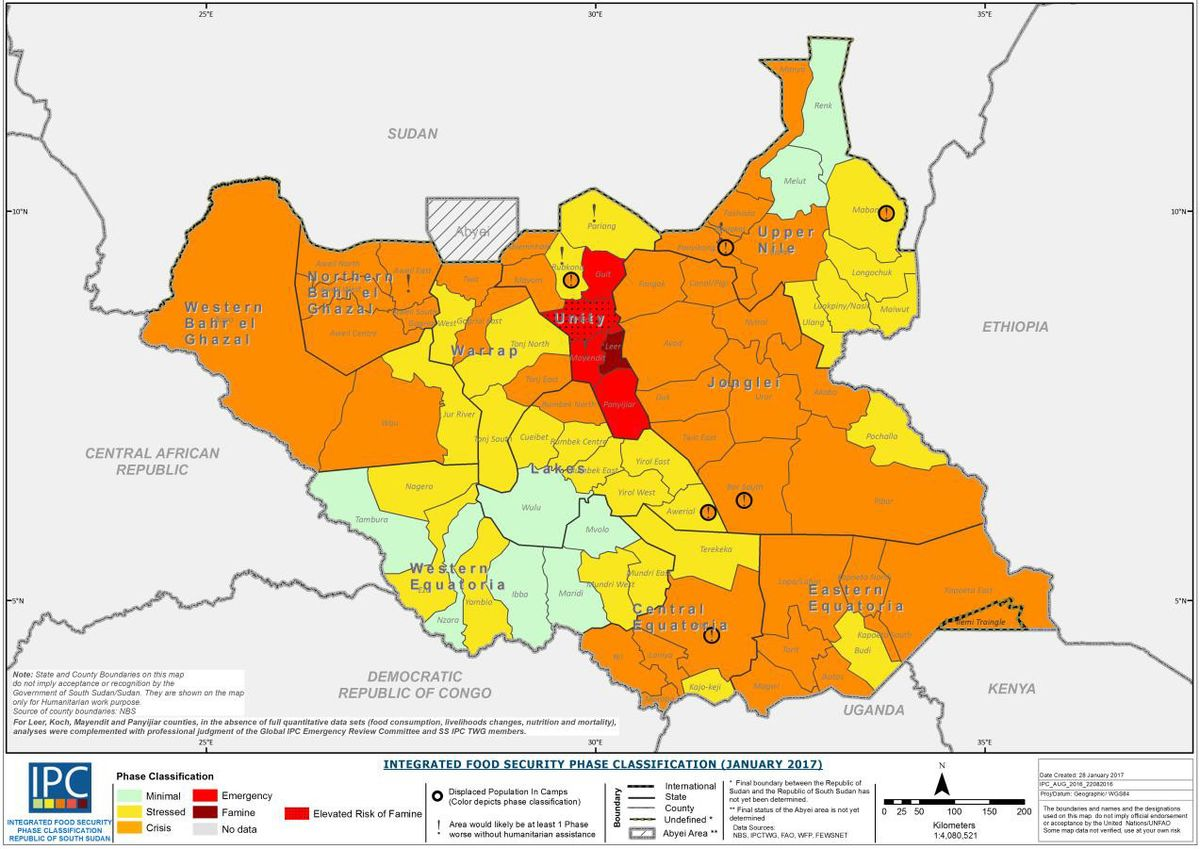 South Sudan Famine Wikipedia - Republic of the sudan map