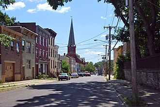 South End–Groesbeckville Historic District - View south down Clinton Street to German Evangelical Protestant Church, 2011