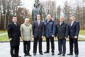 Soyuz TMA-11M crew and backup crew in front of the statue of Yuri Gagarin.jpg