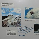 Space Shuttle Challenger (STS-41-G) extra-vehicular activities by Kathy Sullivan and David Leestma, signed by Jon McBride and Bob Crippen - Oregon Air and Space Museum - Eugene, Oregon - DSC09755.jpg