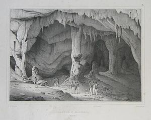 St. Michael's Cave - St. Michael's Cave in 1830, an engraving by Louis Auguste de Sainson.