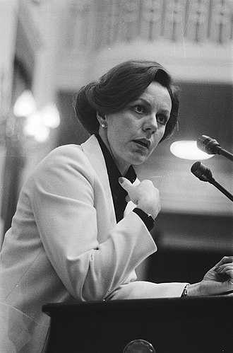 Neelie Kroes - State Secretary for Transport and Water Management Neelie Kroes during a debate in the House of Representatives on 21 March 1979.