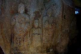 Standing Buddha Triad Carved on the Rock in Donmun-ri, Taean 02.JPG