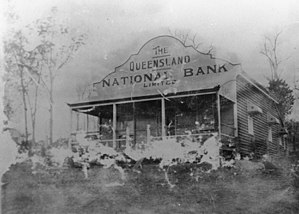 Queensland National Bank - Queensland National Bank in Kandanga.  Kandaga is located 160 km north west of Brisbane in the Gympie region. 30 August 1914.