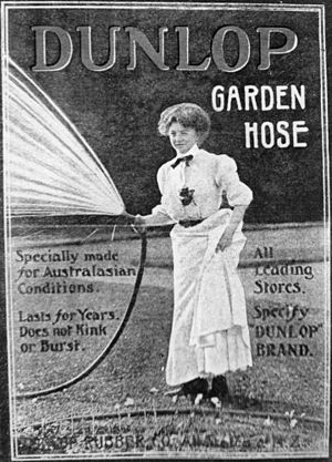 Dunlop Rubber - A 1914 Dunlop print advertisement for garden hoses