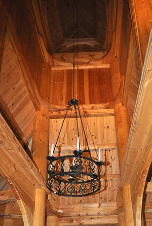 Fantoft Stave Church - Image: Stave church Fantoft chandelier