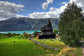 Urnes Stave Church - Image: Stave church Urnes panorama HDR
