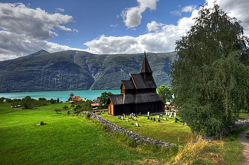 Stave church Urnes - panorama HDR