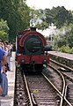 Steam train arriving at Lakeside Station - geograph.org.uk - 1304875.jpg