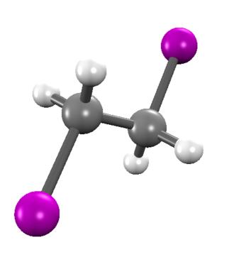 1,2-Diiodoethane - Image: Sticks and balls model of 1,2 Diiodoethane