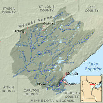 East Savanna River - Saint Louis River and tributaries; East Savanna River originates in Aitkin County (at left)