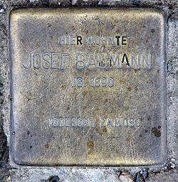 Photo of Joseph Baumann brass plaque