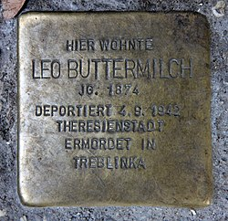 Photo of Leo Buttermilch brass plaque