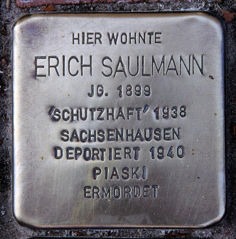 Stolperstein Friedenstr 17 (Heringsdorf) Erich Saulmann.jpg