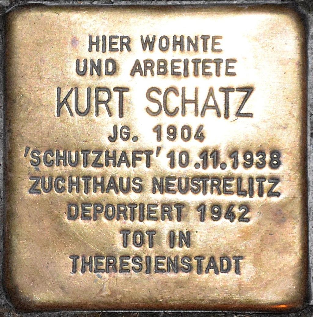 Stolperstein Güstrow Krönchenhagen 13 Schatz Kurt