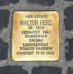 Photo of Walter Herz brass plaque