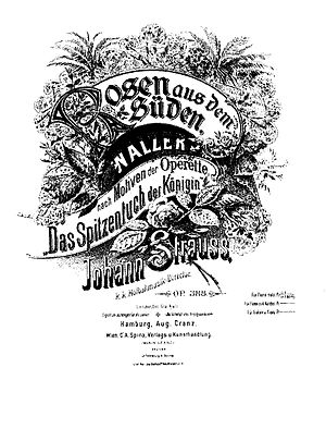 Rosen aus dem Süden - Cover of the piano score.  (Published by August Cranz)