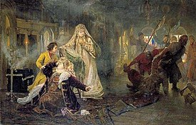 A scene from the uprising: The Streltsy take away Natalia Naryshkina's  brother; young Peter I tries to console his mother, while Sophia watches  the whole ...