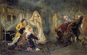 Moscow uprising of 1682 - A scene from the uprising: The Streltsy take away Natalia Naryshkina's brother; young Peter I tries to console his mother, while Sophia watches the whole scene in satisfaction.