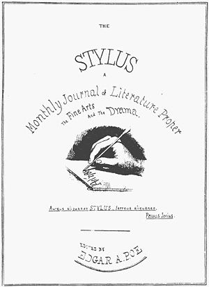 The Stylus - Poe's design for the cover of The Stylus